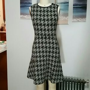 Theory Nikay Houndstooth Stretch Fit & Flare Dress